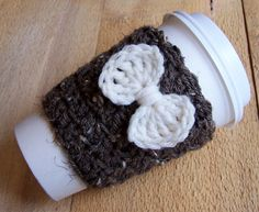 crochet bow cup cover. I need this for me! No pattern but could be made easily
