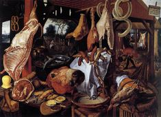 Pieter Aertsen, the painter of Butcher's Stall, is a pioneer of still life and genre painting. His depictions of food, flowers and daily ojects make him became important in the development of still life painting. In this painting, there are lots of comestibles, such as beef, pork, fish, and sausages, which catches viewer's eyes immediately. Also, in the 16th and 17th century, theologians believed that a slaughtered animal symbolized the death of a believer.