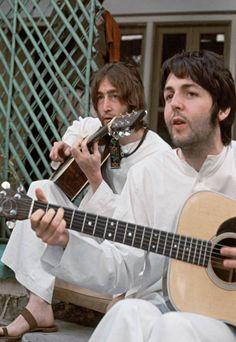 Paul McCartney & John Lennon in India.