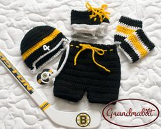 I want this for my future baby! boy or girl! - BOSTON BRUINS PACIFIER & Crocheted Baby Boys Hockey by Grandmabilt, $93.00