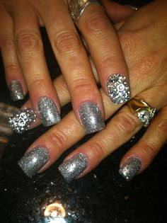 Iced vapor shellac covered in glitter... Oh and rhinestones!!
