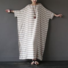 2016 Summer New Linen Striped Plus big size Women Long Dress Oversized Loose Casual Maxi Dress Gray Stripe Brand Robe Femme A036