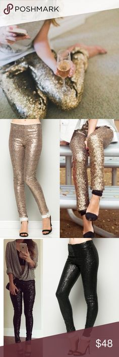 XX The BROOKLYN sequin leggings - GOLD Super fun & which girl isn't head over heels in love with sequins? Perfect for the holidays, NYE, a hot date or girls night out. AVAILABLE IN GOLD & BLACK.   LIMITED QUANTITIES AVAILABLE. Get yours soon!   PLS SEE PIC 4 CLOSE UP OF ACTUAL ITEM  ‼️NO TRADE, PRICE FIRM‼️ Bellanblue Pants Leggings