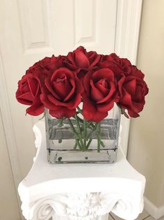 Red Rose Arrangements, Realistic Rose, Rose Centerpieces, Faux Flowers, Red Roses, Flower Power, Floral Wreath, My Etsy Shop, Wreaths