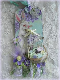 Easter Bunny and his basket... altered tag