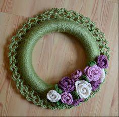 Purple & green crocheted wreath