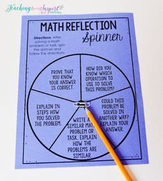 Use this f.r.e.e. math reflection spinner to get your students writing in math.!