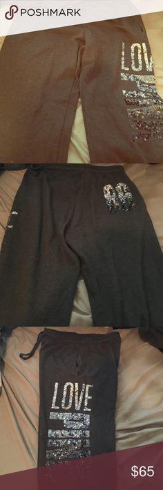 Victorias Secret Pink Sweatpants Fashion Show edition Campus Sweatpants. Never worn! Silver to black ombré sequence PINK Victoria's Secret Pants