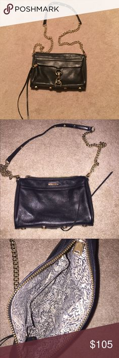 Rebecca Minkoff Mini M.A.C. Crossbody Black leather cross body with gold hardware. Leather is in good shape - very light wear on bottom corners. Gold hardware has slight scratches. Not noticeable unless looking up close. Overall good condition! *comes with dust bag *paid $195 plus tax! Rebecca Minkoff Bags Crossbody Bags