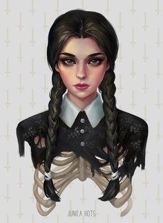 Wednesday Addams by Junica-Hots Wednesday Addams, Desenhos Tim Burton, Anime Illustration, Adams Family, Dark Art Drawings, Goth Art, Dark Fantasy Art, Halloween Art, Horror Art