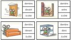 Vocabulaire du repérage spatial Preposition Activities, Vocabulary Worksheets, Montessori Activities, Activities For Kids, French Flashcards, French Worksheets, Teaching French, Teaching English, French Prepositions