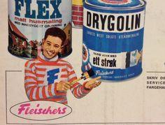 Foto: Bergen Byarkiv Reklame for Fleischers Drygolin. Kjuagutten var bergensernes svar på den litt mer kunstneriske og gåtefulle Bjercke-maler'n fra Oslo