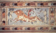 "A fresco found at the Minoan site of Knossos, indicating a sport or ritual of ""bull leaping""; the red-skinned figure is a man and the two light-skinned figures are women."