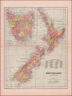 NEW ZEALAND Map Of NZ In Original Dutch Antique Print About - Antique map dealers