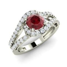 Round Ruby Ring in 14k White Gold with SI Diamond