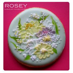 Brush Embroidery Flower Cookie by rosey sugar, via Flickr