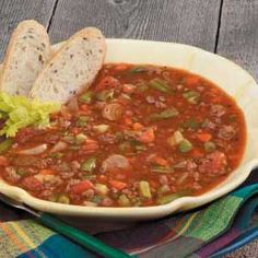 Family Vegetable Beef Soup. I make this all the time, but substitute the tomato juice for half tomato sauce/half beef broth. You can add whatever veggies you like.