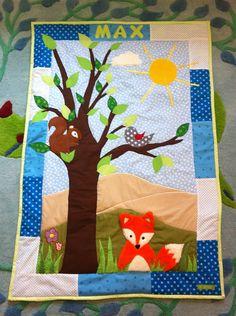 Baby Patchwork Decke, Quilt mit Waldtieren