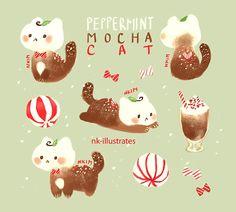 Peppermint Mocha Cat // Art by nk-illustrates Cute Animal Drawings, Kawaii Drawings, Desu Desu, Peppermint Mocha, Dibujos Cute, Kawaii Cat, Cute Doodles, Cat Drawing, Drawing Ideas