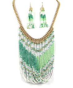 Loving this Gold & Green Bead Twist Necklace & Drop Earrings on #zulily! #zulilyfinds