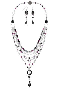 Multi-Strand Necklace and Earring Set with Swarovski® Crystal Focals, Swarovski® Crystal Beads and Sterling Silver Chain