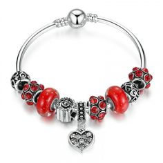 Silver Plated Red Murano Glass Beads Heart Pendant Charm Bangle  Product Code: PA3809  Buy now at www.lovanse.com  Free Shipping Worldwide  #Lovanse #myLovanse #LovanseJewelry #Stylish #Jewelry #Jeweler #Jewellery #Jewels #Luxury #Lifestyle #Custom #CustomJewelry #LuxuryLifestyle #LuxStyle #Gorgeous #MustHave #FashionJewelry #Adorn #Elegant #Enchanting #OnlineShop #OnlineStore #Worldwide #FreeShipping #silverplatedjewelry #readmurano #glassbeads #heartpendant #bangle