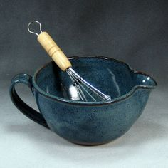 Blue Small Batter Bowl With Whisk Handthrown by PhenixPottery, $28.00
