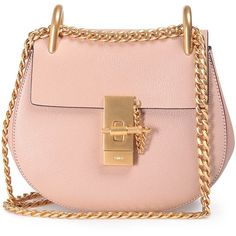 Chloe' Drew Mini Textured-Leather Cross-Body Bag (€1.270) ❤ liked on Polyvore featuring bags, handbags, shoulder bags, purses, bolsas, nude, pink crossbody purse, pink crossbody, shoulder handbags and crossbody purses