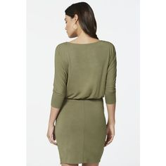 Zipper Detail Dolman Dress in Olive - Get great deals at JustFab via Polyvore featuring dresses, olive dress, justfabulous, olive green dress, green dress and military green dress