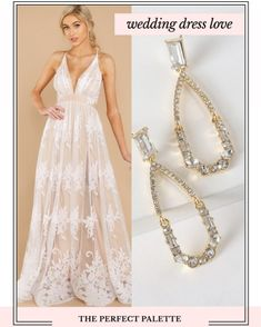Wedding Dresses Under 100, Bridal Dresses, Prom Dresses, Formal Dresses, Tadashi Shoji, Bridal Fashion, Bridal Style, Statement Earrings, Fairytale
