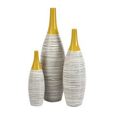 Dot & Bo Mustard Ceramic Vases - Set of 3 (200 CAD) ❤ liked on Polyvore featuring home, home decor, vases, ceramic home decor and ceramic vase