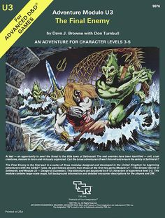 U3 The Final Enemy (1e) | Book cover and interior art for Advanced Dungeons and Dragons 1.0 - Advanced Dungeons & Dragons, D&D, DND, AD&D, ADND, 1st Edition, 1st Ed., 1.0, 1E, OSRIC, OSR, Roleplaying Game, Role Playing Game, RPG, Wizards of the Coast, WotC, TSR Inc. | Create your own roleplaying game books w/ RPG Bard: www.rpgbard.com | Not Trusty Sword art: click artwork for source