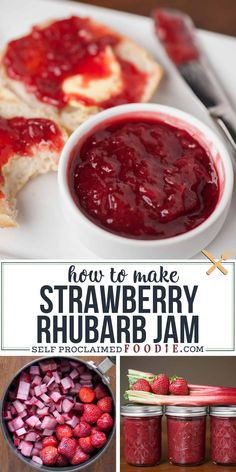 A homemade Strawberry Rhubarb Jam Recipe made from fresh rhubarb, strawberries, sugar, and lemon without pectin! This is the best jam with amazing flavors and texture. You can easily store it in your refrigerator or freezer, or can it! Save this pin! Rhubarb Freezer Jam, Rhubarb Jelly, Rhubarb Uses, Rhubarb Preserves, Rhubarb Bread, Strawberry Rhubarb Recipes, Homemade Strawberry Jam, Dinner Recipes, Rhubarb Jam Recipes Easy