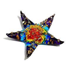 TINY CRYSTAL Starfish HAND BLOWN CLEAR GLASS ART Starfish...
