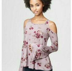 NWT Aeropostale Cold Shoulder Top Womens Size XS Purple Floral Long Bell Sleeve #Aeropostale #Basic #Casual Floral Cold Shoulder Top, Cold Shoulder Blouse, Bell Sleeve Blouse, Bell Sleeves, Aeropostale, Sleeve Styles, Floral Tops, Clothes For Women, Blouses
