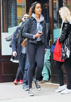 Malia Obama was spotted in New York City wearing a hoodie with affordable sneakers—shop her look here.