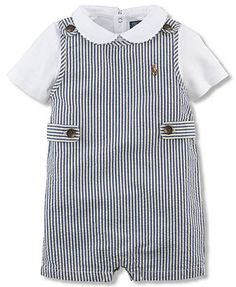 Ralph Lauren Baby Boys' 2-Piece Seersucker Shortall & Bodysuit Set