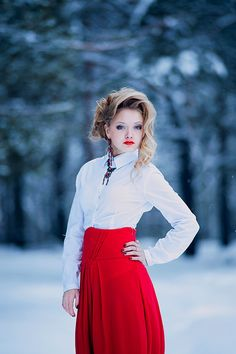 *** red, forest, girl, winter, nikon, snow, dress, d700, 180, glory, Nikon, People, Russia, Alexandra, Sasha