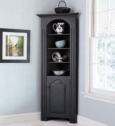 Richmond Corner Cabinet in chestnut - for entry way by door to store all dog leashes/bags and hats/scarfs/gloves