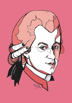 #Mozart Contemporary Art Portrait #Handmade Ink Drawing of Composer A4 #Picture A,  View more on the LINK: 	http://www.zeppy.io/product/gb/3/228382831/
