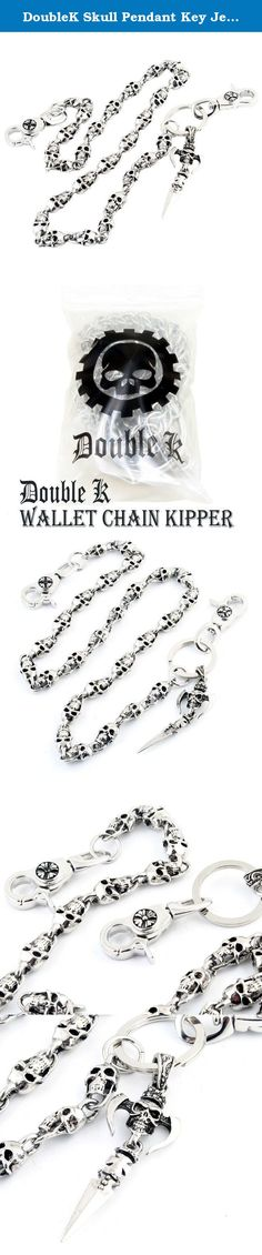 """DoubleK Skull Pendant Key Jean Wallet Chain (29"""" 6oz) Silver CS59. Jean wallet chains are a new twist on an old gentleman's accessory. The pocket watches of the last century were the inspiration of the modern day jean wallet chain. The watch chain was historically a functional accessory that in recent years has enjoyed mainstream success and popularity and has entered hip-hop fashion as one of the newest trends / manifested in the jean wallet chain. The chain is made of tough chrome…"""