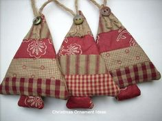 Ideas for country christmas tree ornaments burlap Fabric Christmas Ornaments, Christmas Sewing, Country Christmas, Homemade Christmas, Rustic Christmas, Christmas Fun, Christmas Decorations, Christmas Patchwork, Primitive Christmas