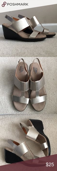 New never worn gold/silver Lifestride wedges. These wedges are absolutely gorgeous! They are in mint condition never worn. They have a nice gold/silver sheeny color to them and the soles are memory foam. Perfect for spring summer and fall. Lifestride Shoes