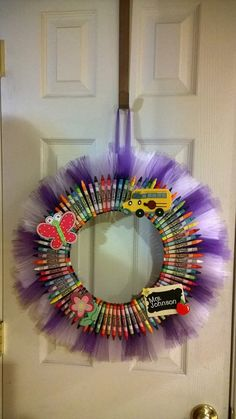 Crayon Tulle Wreath by RomanzasWreaths on Etsy
