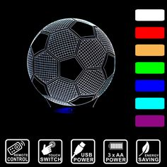 Creative 3D Lamp LED Night Light Football Acrylic Discoloration Colorful Atmosphere Lamp Touch/Remote Control Lighting IY803326 #Affiliate