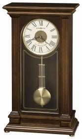 Howard Miller quartz cherry tripe chime mantel clock 635169 Stafford-Finished in Cherry Bordeaux on select hardwoods and veneers, this wooden mantel clock features an inverted V-matched teak wood veneer on the front of the case, fluted columns, and gold detail on the flat glass front.
