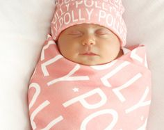 PERSONALIZED Baby Blanket hat Organic Interlock Knit by PETUNIAS
