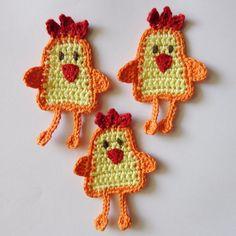 Crochet Applique Cock and Chick 5pcs. $10.00, via Etsy.