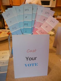 Gender Reveal Party - voting with paint sample strips