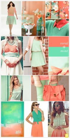 @Kat Howell bridesmaid dress color? you could wear mint and everyone else in coral? maybe a coral sash or something?